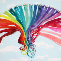 Rainbow Human Hair Extensions, Colored Hair Extension Clip, Hair Wefts, Clip in Hair, Tie Dye Hair Extensions, Festival Hair