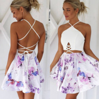 Fashion Sexy Halter Belly Hollow  Under Print Flower backless Dress