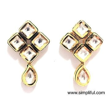Teardrop Diamond Kundan Earring