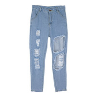 Vintage Destroyed Denim Baggy Pants