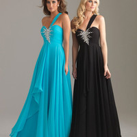 Lovely Blue Chiffon Embellished Single Strap Prom Gown - Unique Vintage - Homecoming Dresses, Pinup & Prom Dresses.