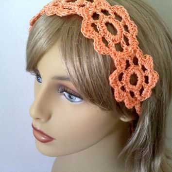 Best Orange Crocheted Headband With Flower Products On Wanelo