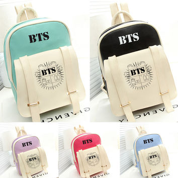 2017 New Korean KPOP Bangtan BTS PU Backpack Mochila Bag Preppy Style Student Girls Schoolbag Women Backpacks for Teenage