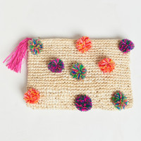 LJC Designs ~ Natural Raffia Pom Pom Tassel Clutch ~ Natural/multi pom poms