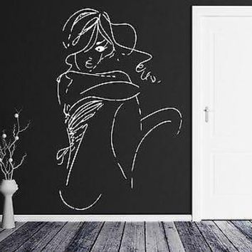 Wall Vinyl Sticker Decal Beautiful Girl Sketch Abstract Woman Art Decor Unique Gift (m554)