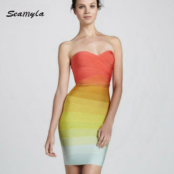 2017 New Hot Sell Summer Rainbow Gradient Color Rayon Bandage Dress Sexy Strapless Orange Bodycon Celebrity Party Dresses