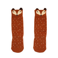 Brown fox knee socks