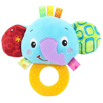 13*9.5CM New Born Bed Rattles Baby Rattles Hand Bell Toy Owl/Lion/Monkey/Elephant Animals Plush Toy Gift Cartoon Toy P15