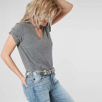 BKE Raw Edge Cut-Out Top - Women's T-Shirts in Heather Grey | Buckle