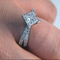 2.40ct I-VS2 GIA Princess Diamond Star Wars Engagement Ring Platinum JEWELFORME BLUE GIA certified