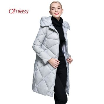 OMLESA Brand Women Down Jacket 2017 New European Hooded White Duck Down Coat Ladies Long Thicken Warm Padded Parka YQ102