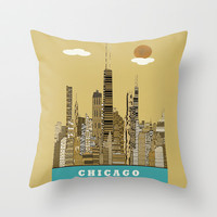 Chicago city (vintage Throw Pillow by bri.buckley