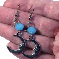 Light Blue Crystal Bead and Silver Half Moon Charm fashion Earring - boho style