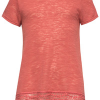 Full Tilt Crochet Trim Girls Hachi Tee Coral  In Sizes