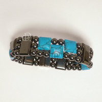 Magnetic Bracelet Turquoise and Black Hematite Beads 5,000 Gauss Clasp