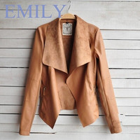 Order get gift (Size S-4XL) New Fashion Autumn Winter 2015 Women's Lady's Slim Thin PU Leather Jacket Leather Coat Tops Small Coat Outerwear