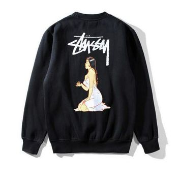 CREY9N Stussy Couple Fashion Casual Pattern Print Long Sleeve Top Sweater Sweatshirt