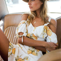 Summer Print Lemon Spaghetti Strap One Piece Dress [10716189903]