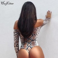 Hugcitar snakeskin off shoulder sexy body suit 2017 autumn winter women long sleeve snake skin female bodysuits