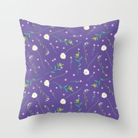 Simple flowers and purple Throw Pillow by Sagacious Design