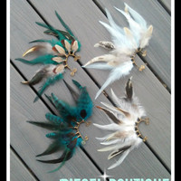 Montezuma, Feather Earcuff, turquoise feather ear cuff, grizzly feather, feather earring, free people, Native american style, Indian feather
