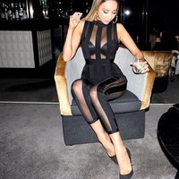 2016 new arrival women bodycon rompers new fashion ankle-lenght pants skinny sexy sleeveless see through elegant jumpsuits MQ450