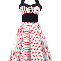Red and White Polka Dot Print Halter Backless Sleeveless Sheath Midi Skater Dress