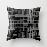 Map Lines Silver Throw Pillow by Project M
