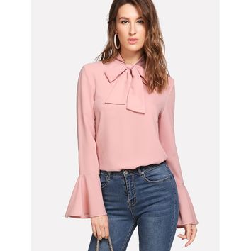 Pink Bow Tied Neck Bell Cuff Curved Hem Blouse