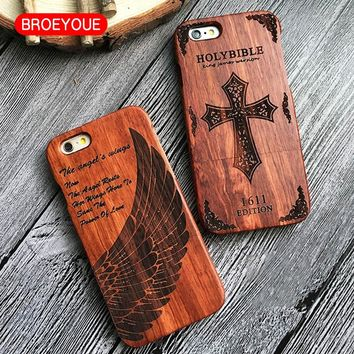 BROEYOUE Wood Case For Samsung S7 S7 Edge 100% Natural Bamboo Wooded Carving Design Custom Cover For iPhone 7 6 6S Plus 5 5S SE