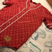 SUPREME x LOUIS VUITTON Monogram Red Denim Baseball Jersey Shirt XS - *IN HAND*