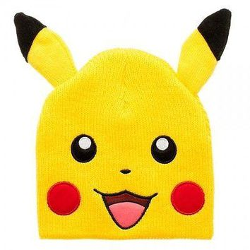 POKEMON PIKACHU BIG FACE Cosplay Knit Beanie Cap Hat (478293)