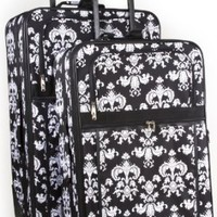 World Traveler Black Floral Damask Two Piece Rolling Luggage Set