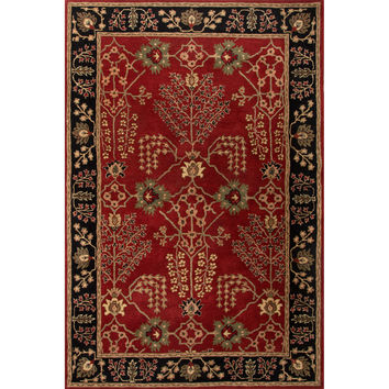 Jaipur Rugs Classic Arts And Crafts Pattern Red/Black Wool Area Rug PM111 (Rectangle)