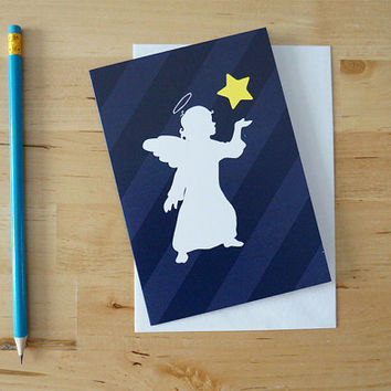 Blue Christmas greeting card: Angel with a star - Hand made