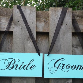 Hanging Wood Custom wedding signs, Mr and Mrs signs, Thank you, Bride and Groom, Photo Props, Chair Signs