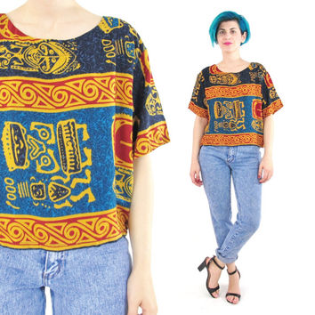 80s 90s Tribal Print Blouse African Print Tribal Faces Top Short Sleeve Shirt Batik Rayon Abstract Print Cropped Slouchy Boxy Summer (S/M/L)