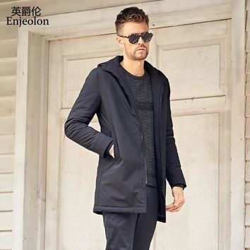 winter long warm Cotton Padded Jacket coat Men black Parka hoodies coat Thick Quilted Coat