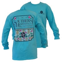 Southern Couture Preppy Southern Hospitality Flower Pineapple Comfort Colors Lagoon Blue Girlie Long Sleeve  Bright T Shirt