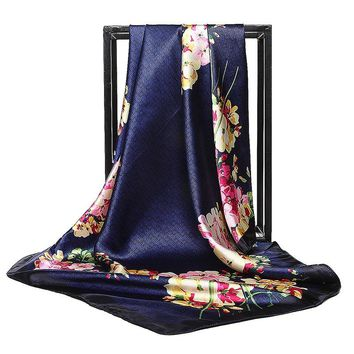 STYLEDOME Luxury Flower Hijab Silk Satin Shawl Scarf Foulard Square Head Scarves Wraps 90x90cm