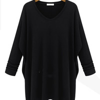 Fall/Winter Long Sleeve Knit Cotton Mini Dress with Irregular Hem