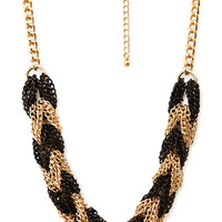 FOREVER 21 Braided Chain Necklace Gold/Black One