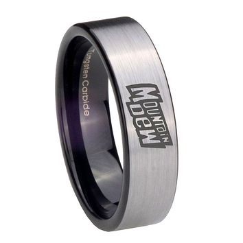 8MM Silver Black Mountain Dew Pipe Cut Tungsten Carbide Laser Engraved Ring
