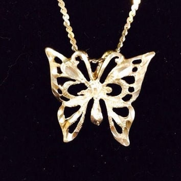 Vintage Sterling Silver 925 Butterfly Necklace Italy Italian Pendant Perfect for Easter Spring Summer Jewelry