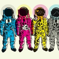 """Cmyk Spacemen"" - Art Print by Matt Fontaine"