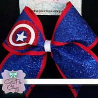 Captain America Full Glitter Cheer Bow
