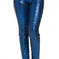 Allover Sequin Party Pants in Blue