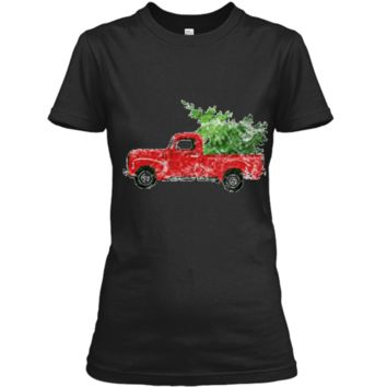Vintage Christmas Classic Truck  with Snow and Tree Ladies Custom