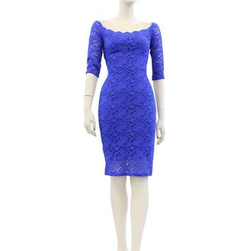 Solid Color Lace 3/4 Sleeve Lined Midi Knee Length Dress Size S-XL AP7830