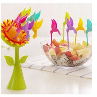 5Pcs/Set Kitchen Bird Fruit Snack Dessert Forks Tool Sun flower Shape Holder Rack